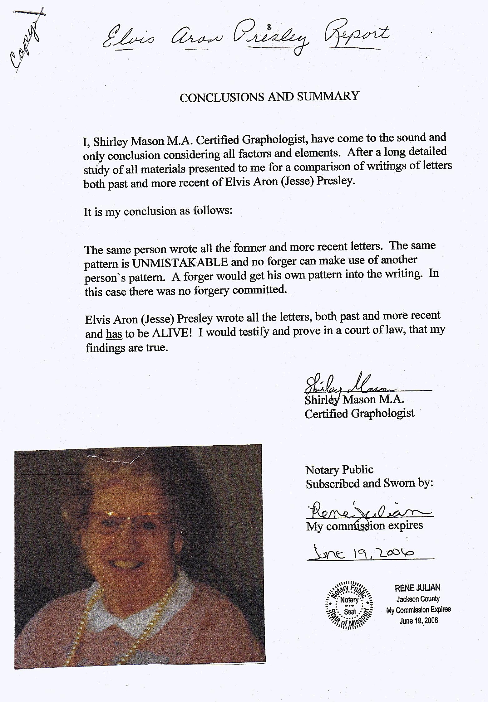 Graphology report prepared by Ms. Shirley Mason Nov. 2002