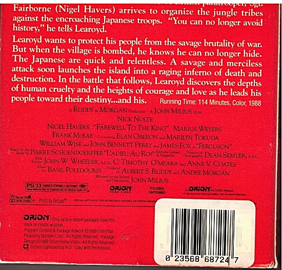 Back Cover of Farewell To The King video