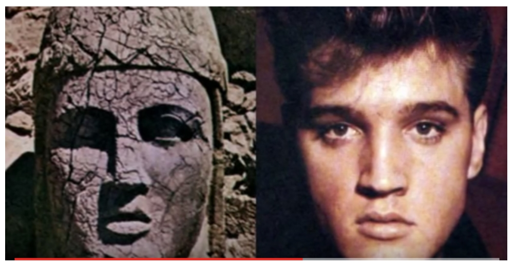 Elvis and 2000 year old King statue