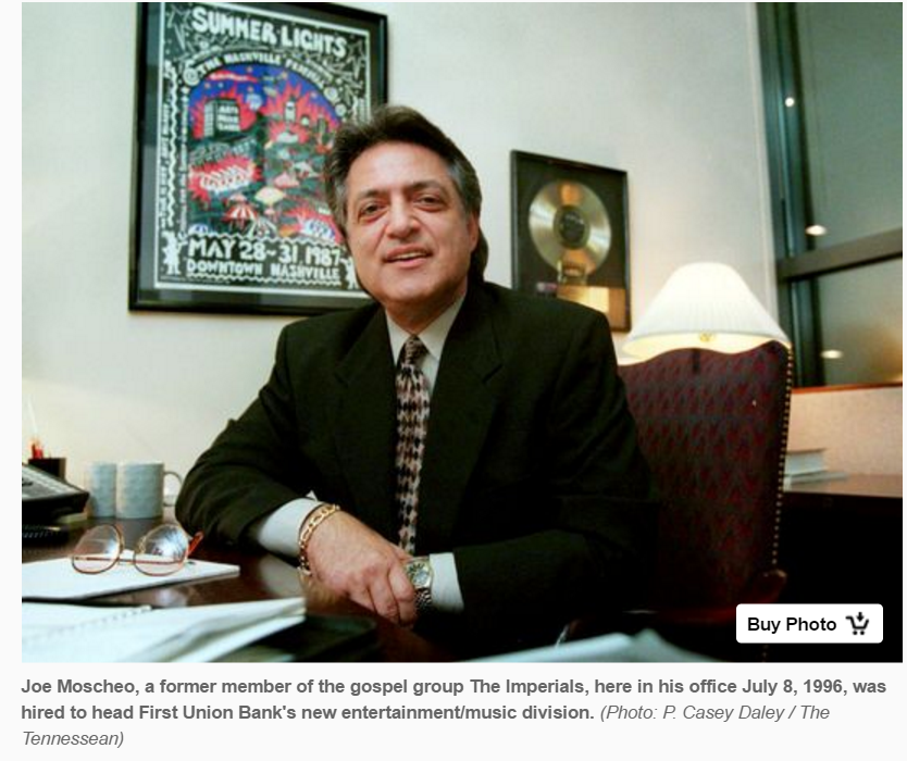Gospel singer Joe Moscheo of The Imperials seated at his desk