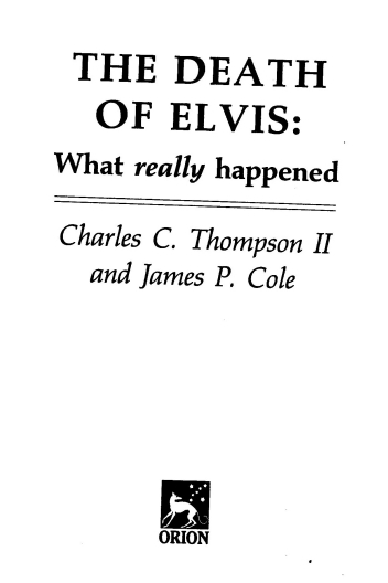 Orion Paperback Title page The Death of Elvis