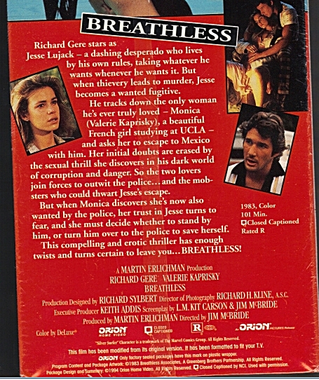 Breathhless back cover of video box showing Orion