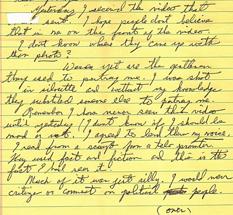 Excerpt of Jesse's letter about people used in the Elvis Is Alive video