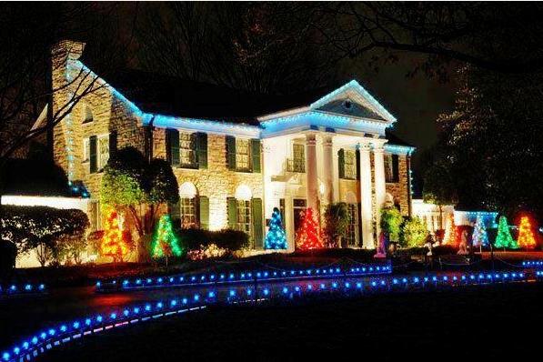 Graceland in Christmas Lights.