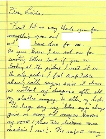 Jesse's letter with photo with Ben page 1