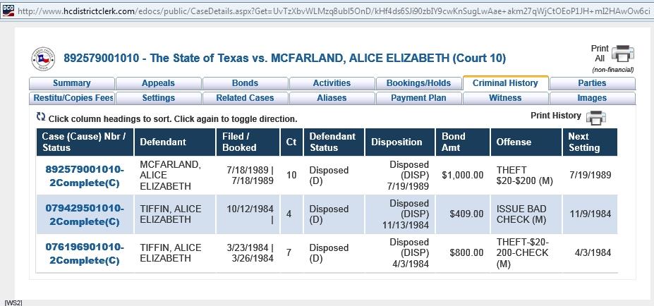 Eliza's criminal history in Harris County, TX