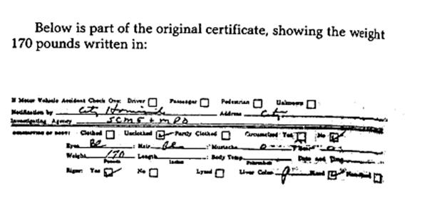 Medical Examiner's death report excerpt