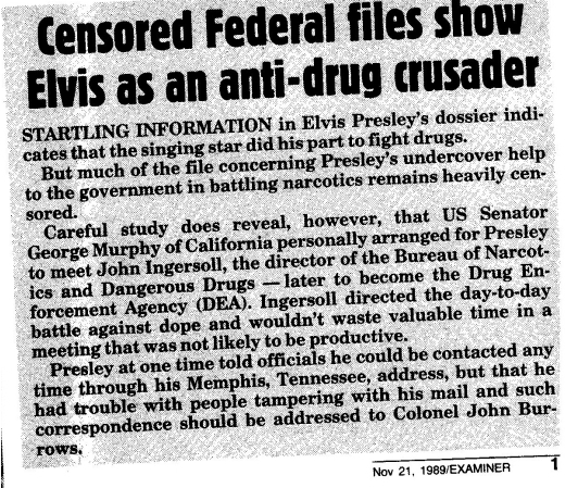 Newspaper article about Elvis fighting drugs