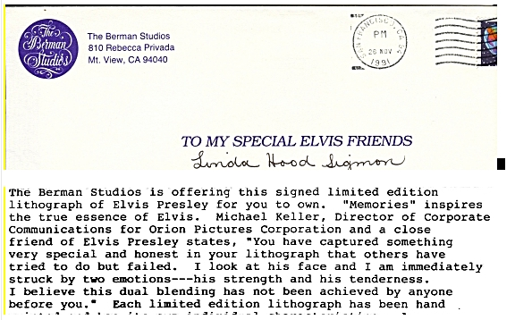 Letter mentioining a friend of Elvis who was with Orion Pictures