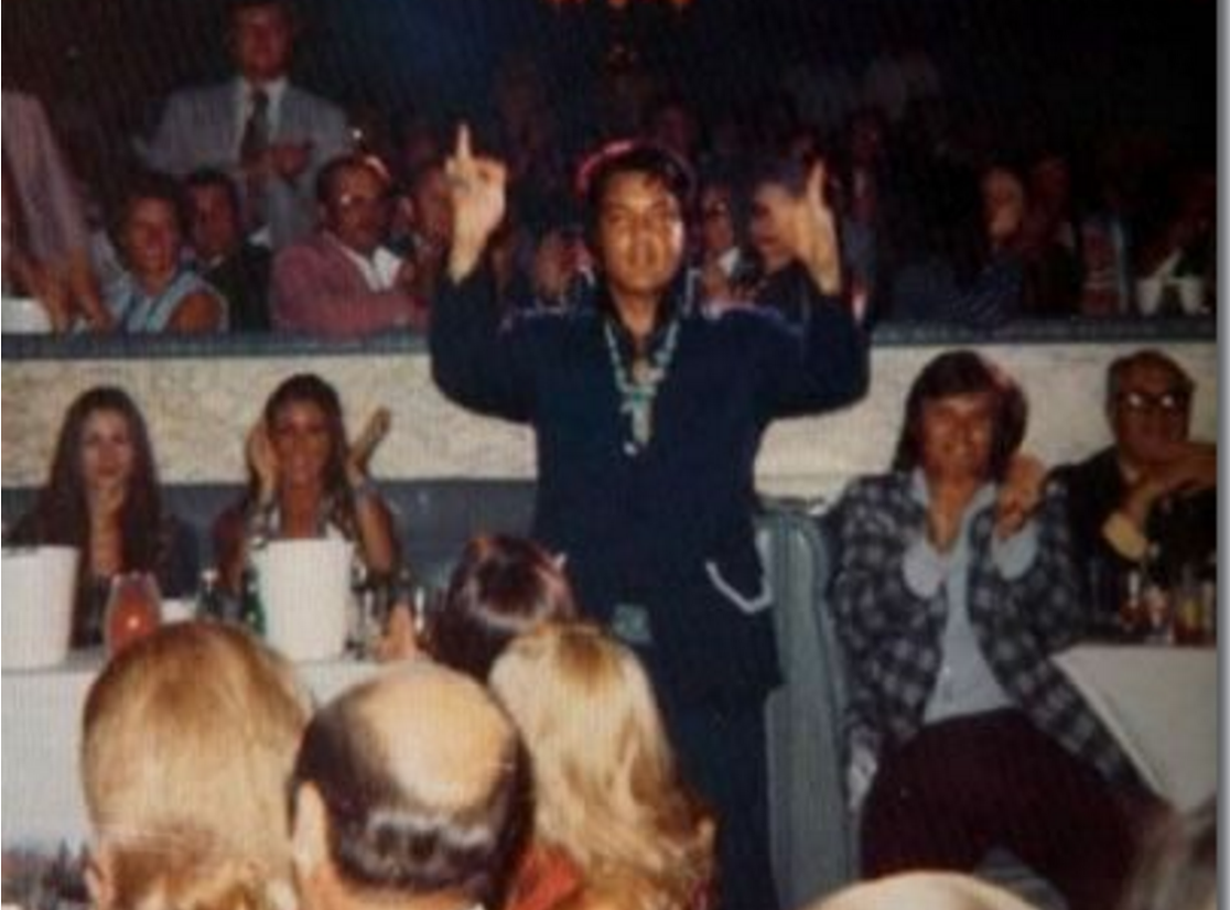Elvis being introduced in the audience at someone else's show in Vegas