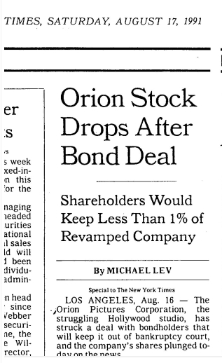 ORION AUGUST 16TH NEAR BANKRUPTCY