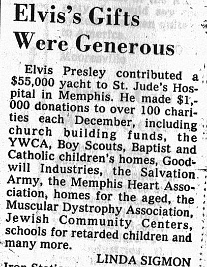 Elvis generous by Linda Sigmon