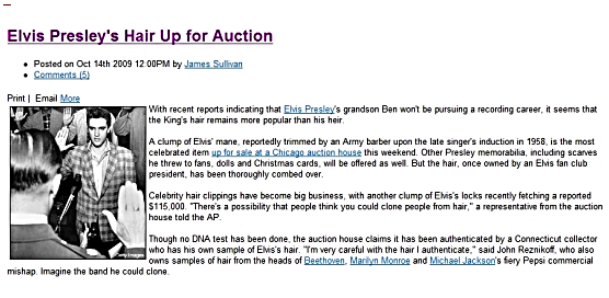 Article about Elvis' hair for sale