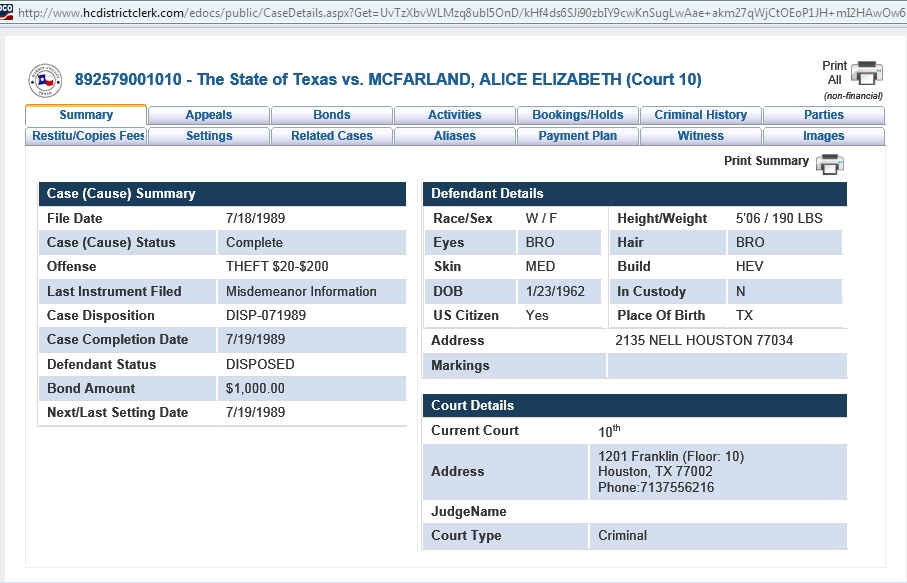 Eliza's arrest and court record for theft in Harris County, Texas