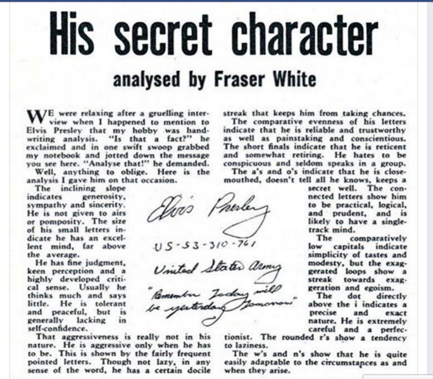 Elvis 1958 handwriting analysis