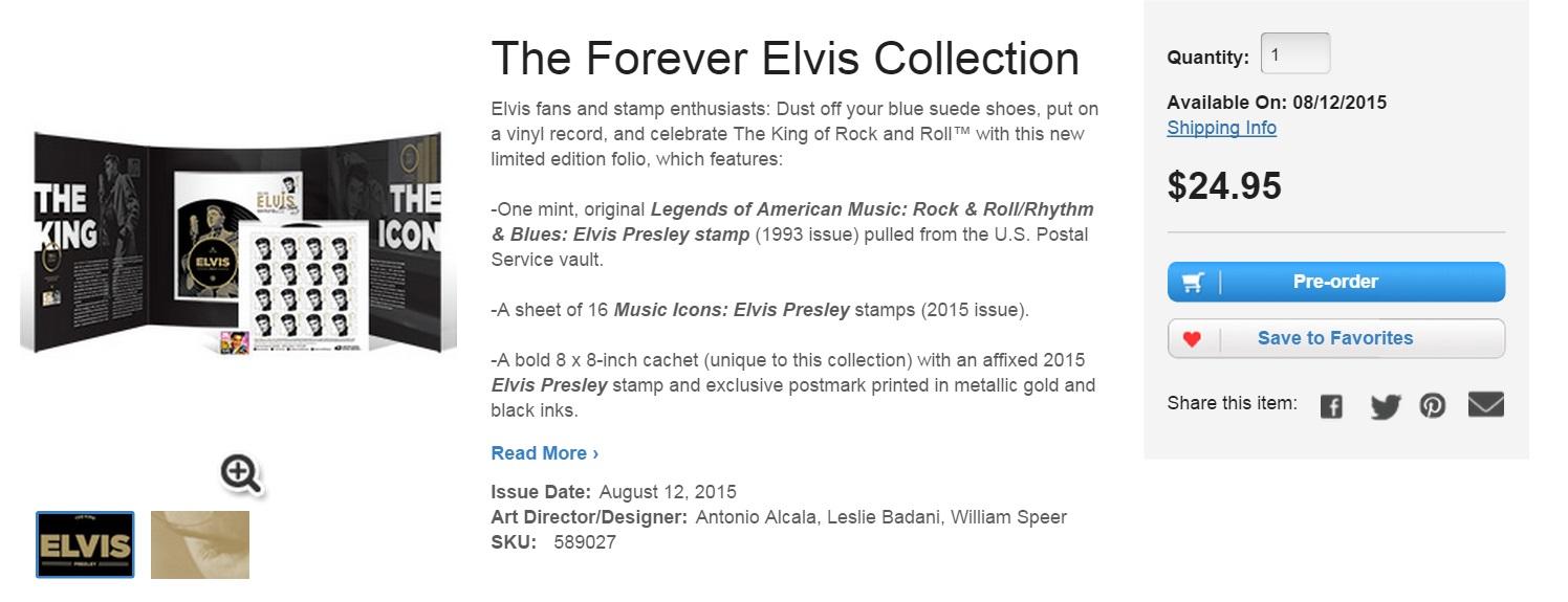 USPS Elvis stamp collection