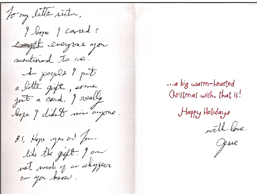 Jesse's Christmas card 2011 note inside