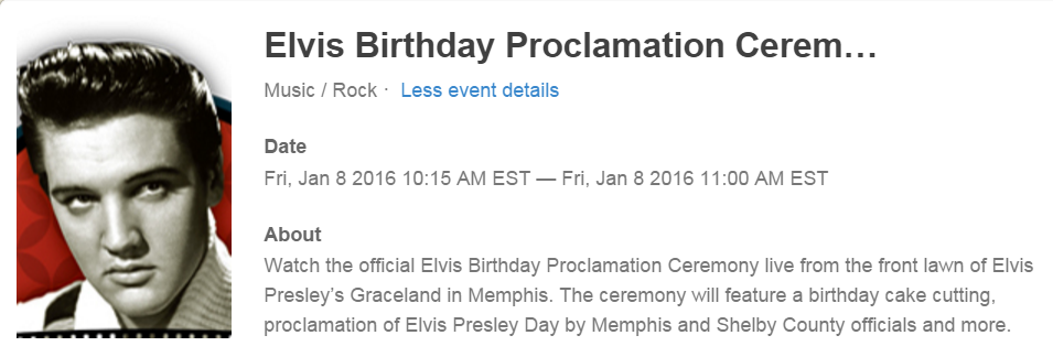 Elvis Birthday Proclamation Ceremony 2016 on Livestream