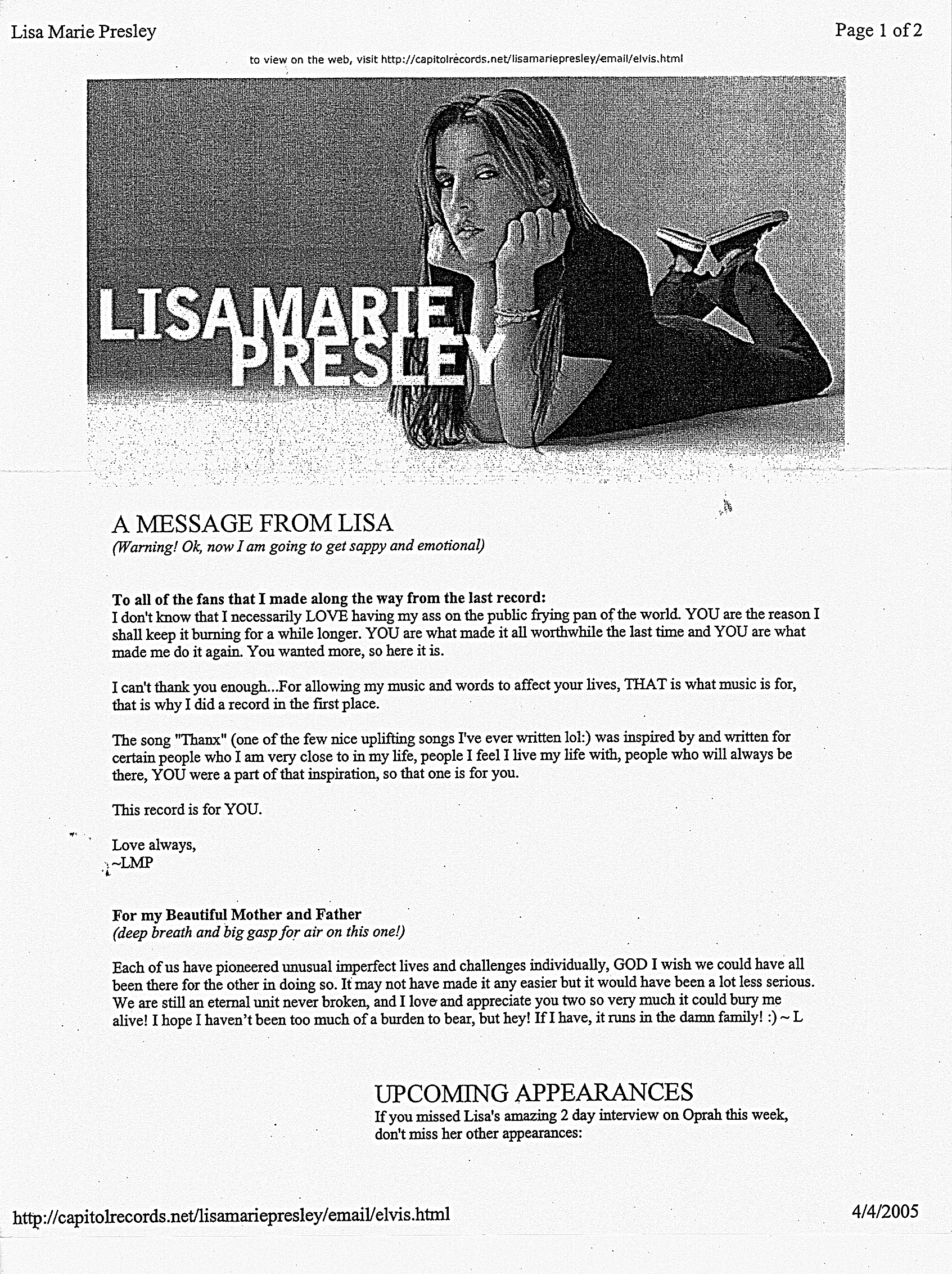 Message from Lisa Marie 2005