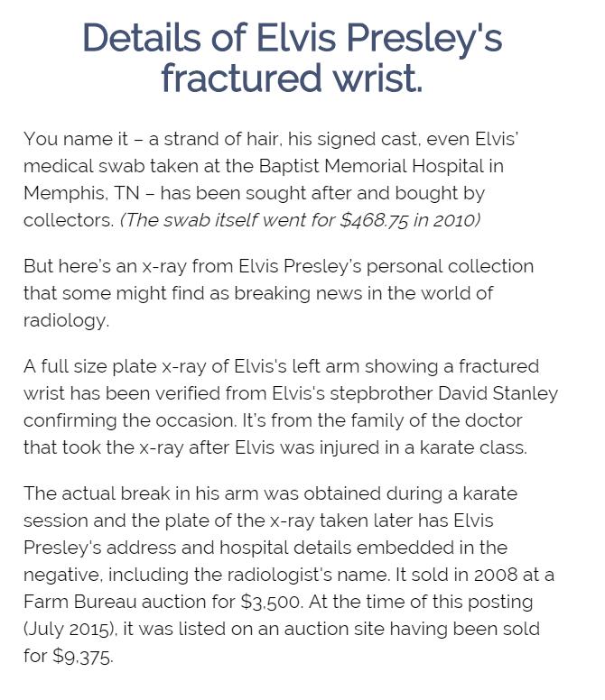 Elvis Presley s wrist X Ray article