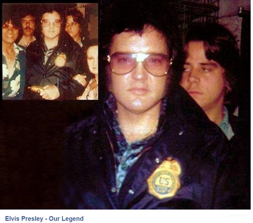 Close up of Elvis wearing Federal badge