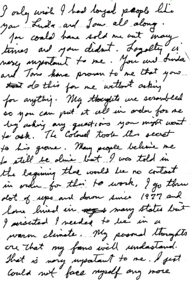 Jesse letter for the book...more about after 1977...wants fans to understand