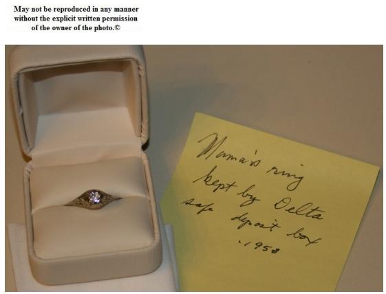 Jesse's mother's ring kept in safe deposit box by Aunt Delta