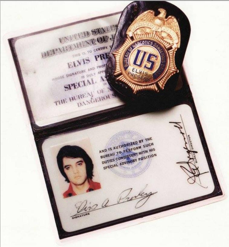 Elvis' federal badge given by Pres. Nixon