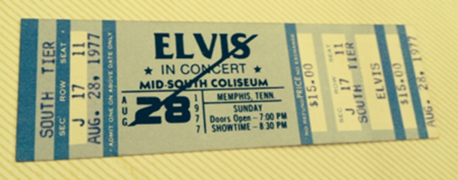 Elvis concert ticket with line across...mid south colesium 8-28-1977 rotated