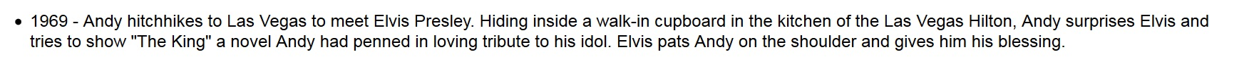 Andy Kaufman hitchhikes to Vegas to meet Elvis 1969
