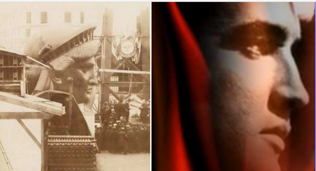 Elvis profile compared to the Statue of Liberty while under construction