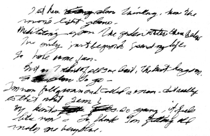 Elvis's handwritten poem The Garden - top section
