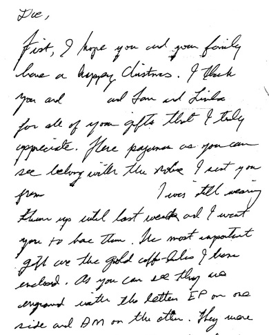Jesse's letter to Hinton at Christmas about cuff link...top of page 1