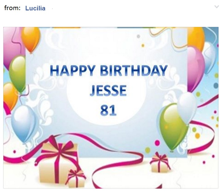 Lucilia's birthday greeting for Jesse