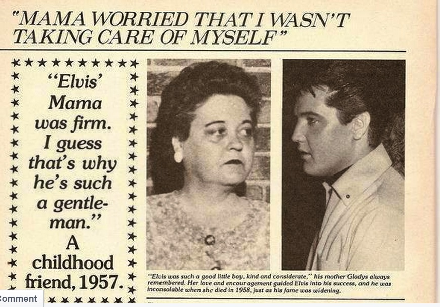 Elvis newspaper atricle about his Mama