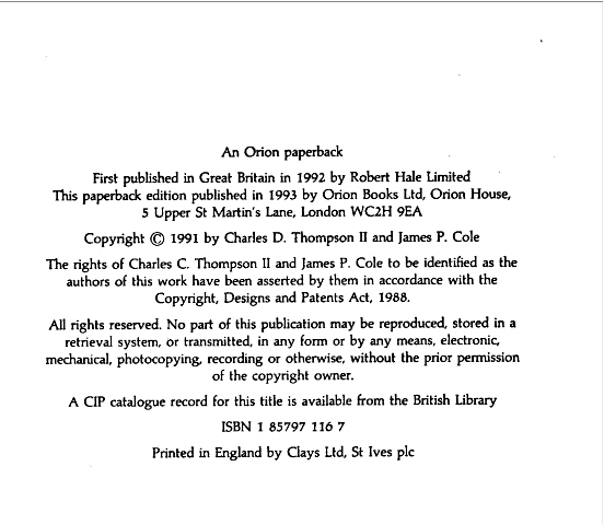 Orion Paperback The Death of Elvis Copyright page