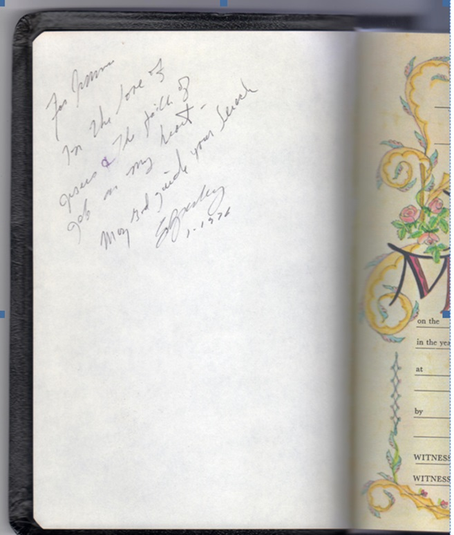 Elvis' inscription in Bible to Wanda's husband.