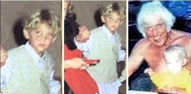Collage of Benjamin with Jesse and from photo which appeared on tabloid cover