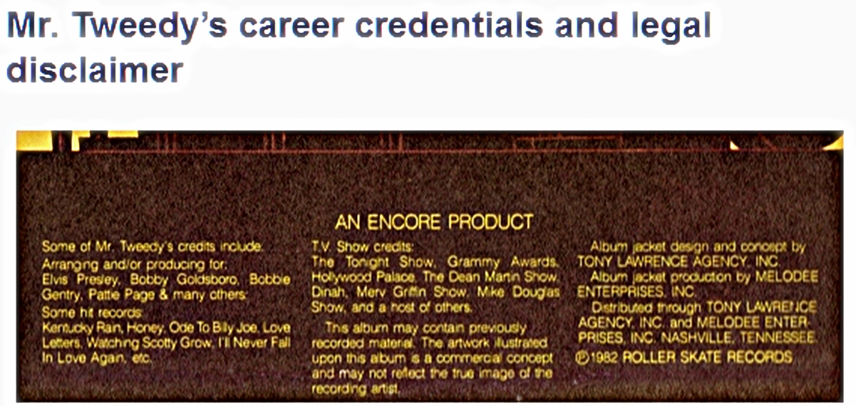 Don Tweedy's career credentials and legal disclaimer