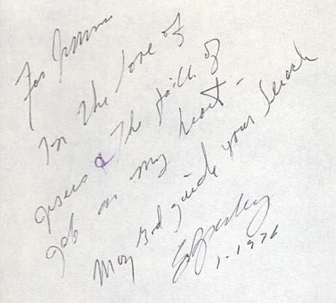 Elvis inscription in Bible to Jimmie close up